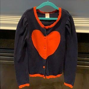 Gymboree Heart Sweater Button Down Blue & Orange